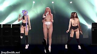 Meztelen énekes a színpadon. Virtuális Valóság. meztelen tánc