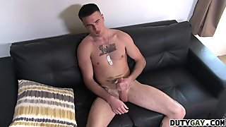 Former soldier jerks his hard dick