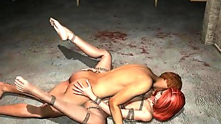 Tied up 3D redhead gets fucked