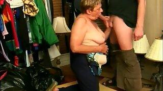 Grandma sucks a big cock