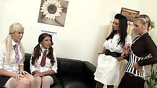 Four gorgeous lesbos have dildo fuck in the principal's office