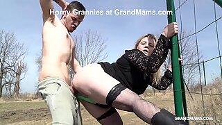 CFNM Grandma Deep Throats Like a Teen in Public!